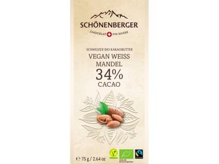Tablette de Chocolat blanc aux amandes - 75g