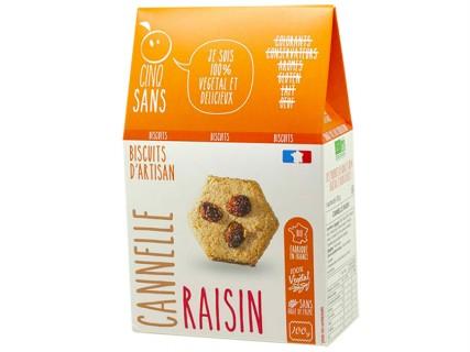 Biscuits Cannelle Raisin Cinq Sans - 100g