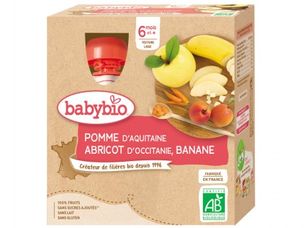 Gourdes Pomme Abricot Banane - 4x90g