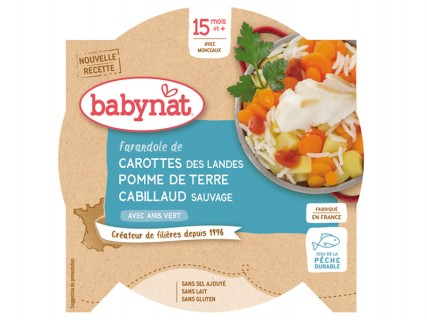 Assiette Farandole de Carotte Pomme de terre Cabillaud sauvage - 260g