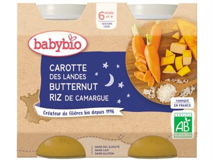 Pots Bonne Nuit Carotte des Landes, Courge Butternut,  Riz  - 2x200g