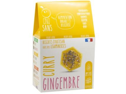 Biscuits Apéritif Curry Gingembre Cinq Sans - 100g