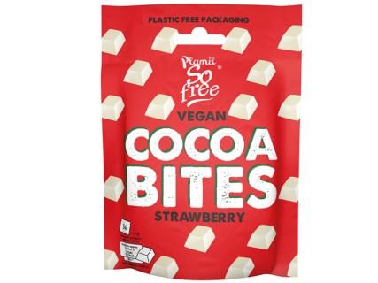 Carrés de chocolat blanc vegan - saveur fraise - Sachet souple - Sans lait
