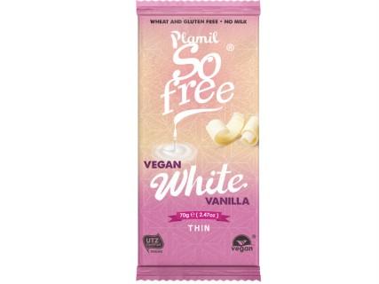 Tablette de chocolat blanc, sans lait, sans oeuf, sans gluten