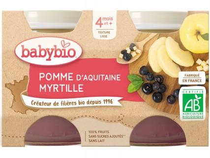 Pots Pomme d'Aquitaine, Myrtille - 2x130g