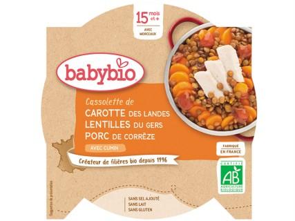Assiette Cassolette de Carotte, Lentilles et Porc - 260g