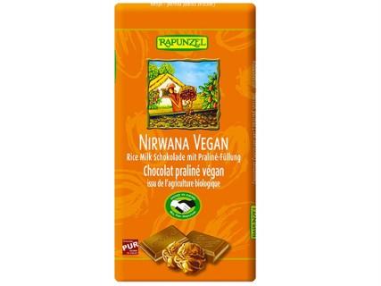 Tablette de chocolat praliné Nirwana vegan, sans lait, sans œuf, sans gluten - 100g
