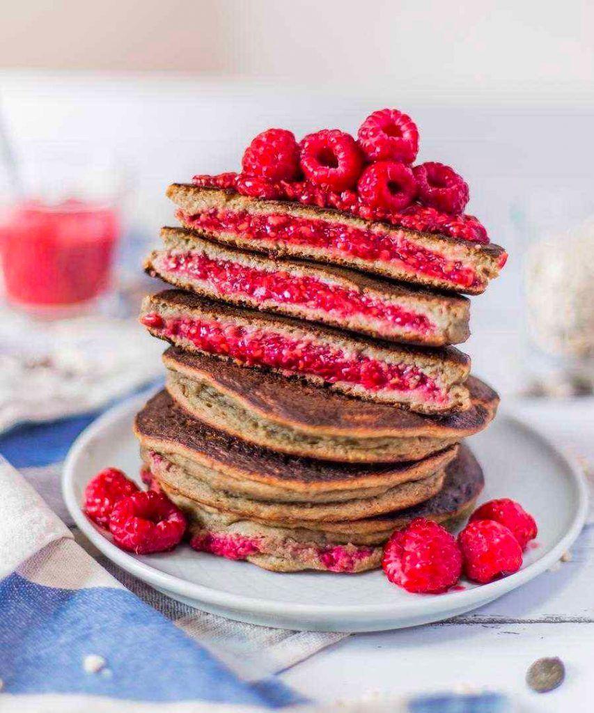 recette pancakes à la framboise sans